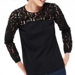 Boden black lace sleeve with solid lower half top